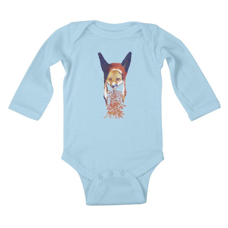 Fall Fox Kids Baby Longsleeve Bodysuit by Misterdressup