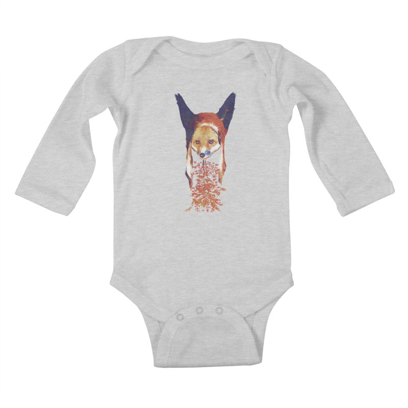 Fall Fox Kids Baby Longsleeve Bodysuit by Misterdressup
