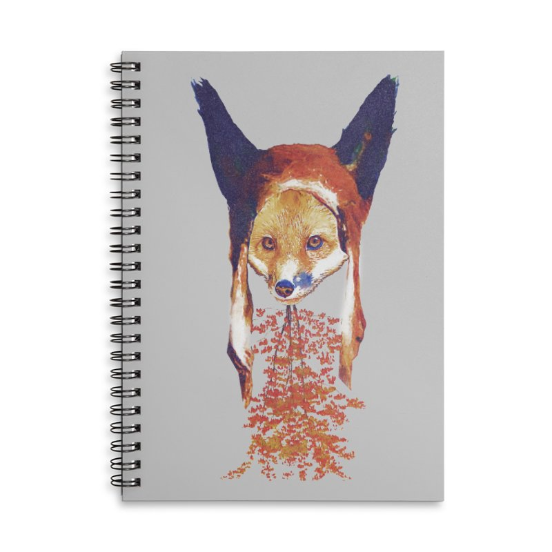 Fall Fox Accessories Lined Spiral Notebook by Misterdressup