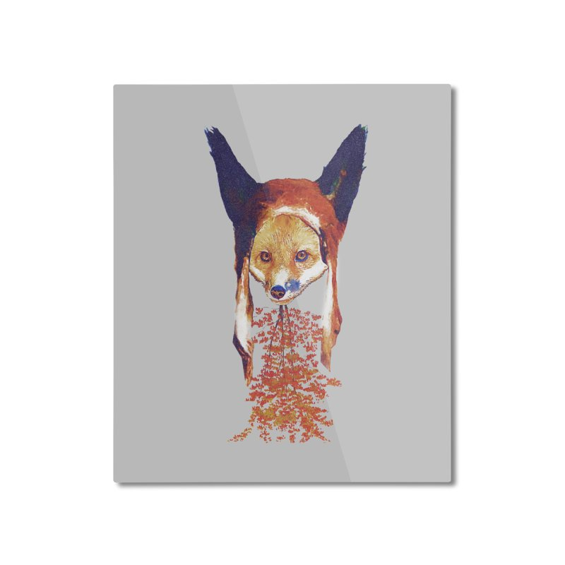 Fall Fox Home Mounted Aluminum Print by Misterdressup