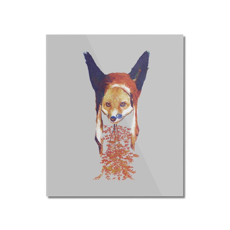 Fall Fox Home Mounted Acrylic Print by Misterdressup