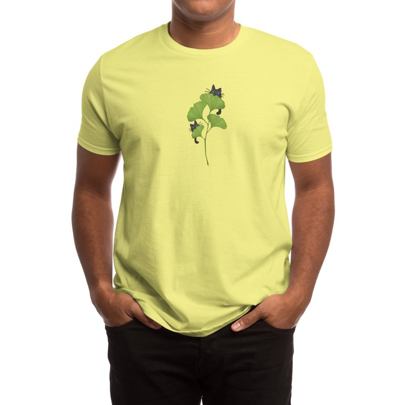 Ginkgo Hidden Cats Men's T-Shirt by Mitalim's Artist Shop