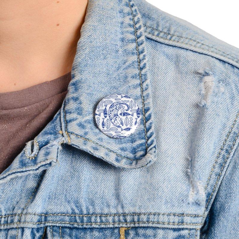 Folksy Indigo Cat Accessories Button by Mitalim's Artist Shop