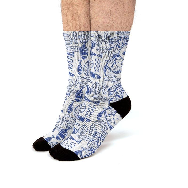 Folksy Indigo Cat Men's Socks by Mitalim's Artist Shop