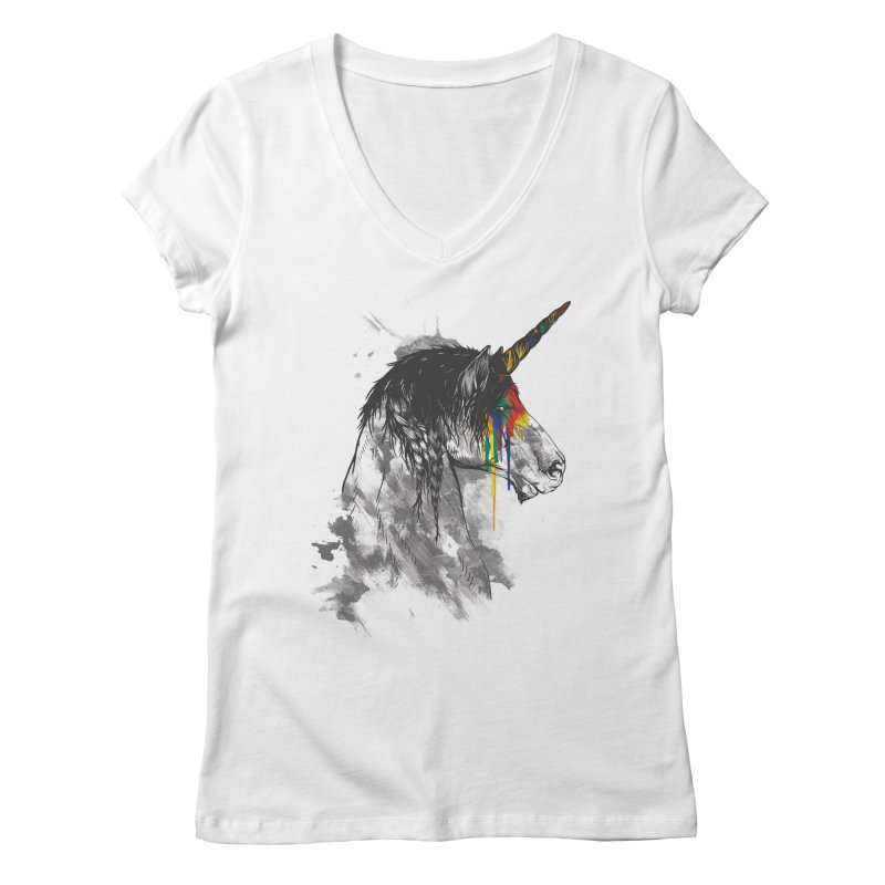 Braided Unicorn Women's V-Neck by mitchdosdos's Shop