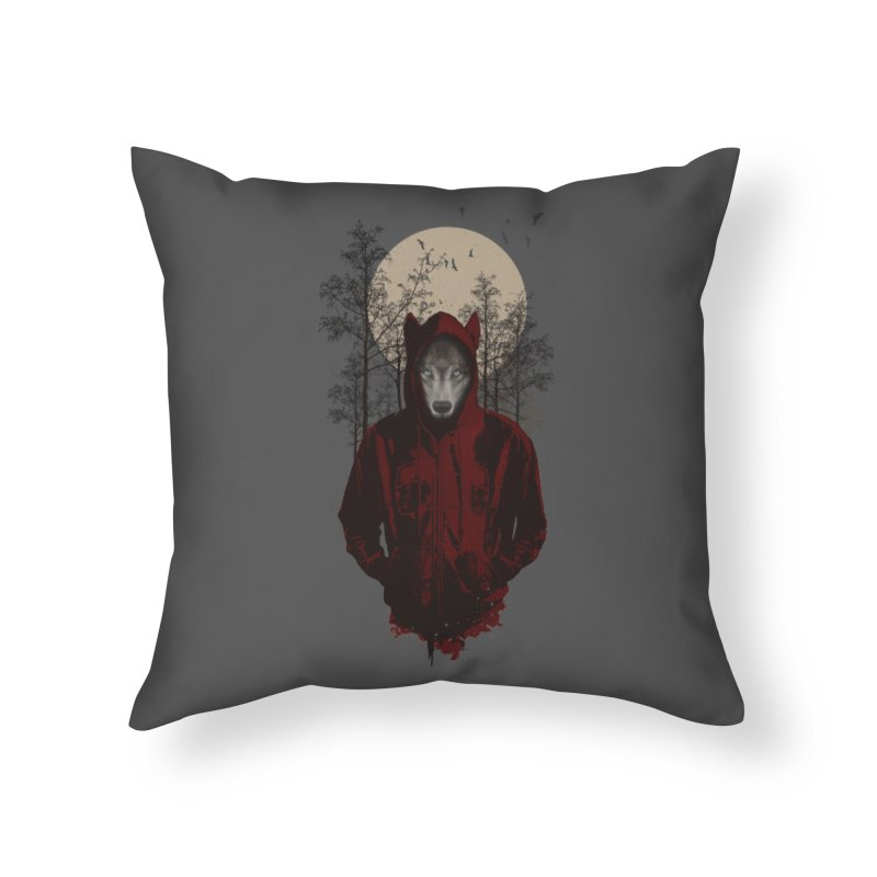 Red Hood Home Throw Pillow by mitchdosdos's Shop