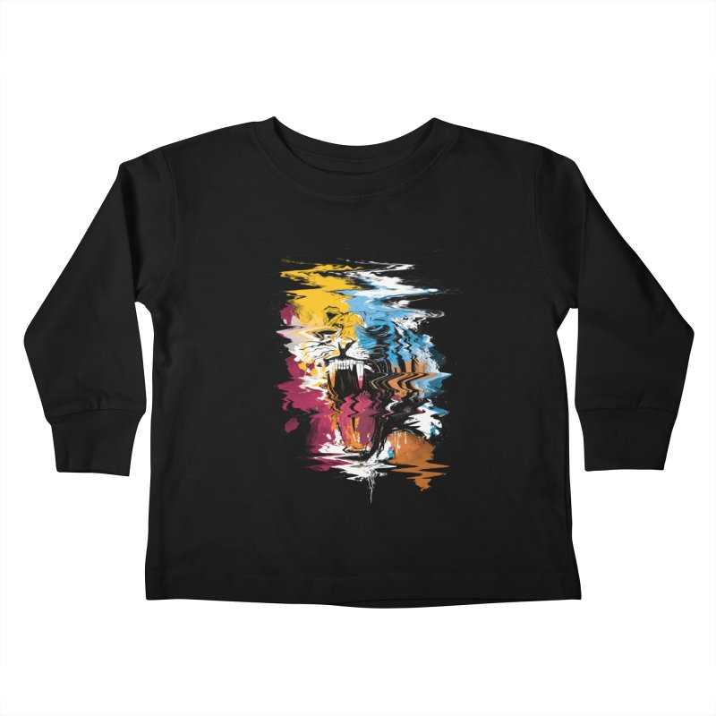 Raging Tiger Glitch Kids Toddler Longsleeve T-Shirt by mitchdosdos's Shop