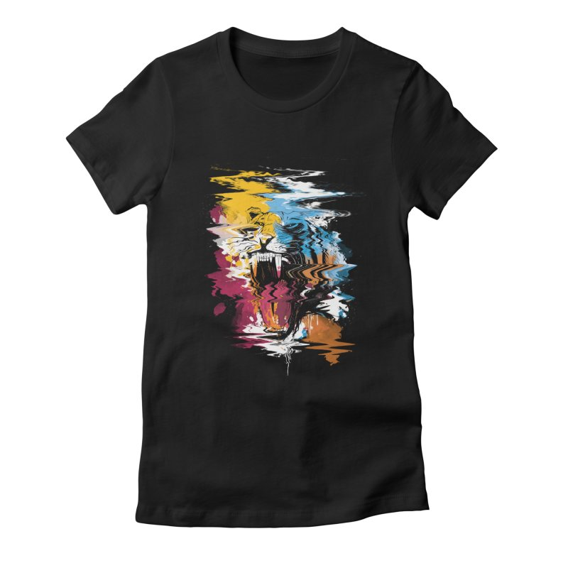 Raging Tiger Glitch Women's Fitted T-Shirt by mitchdosdos's Shop