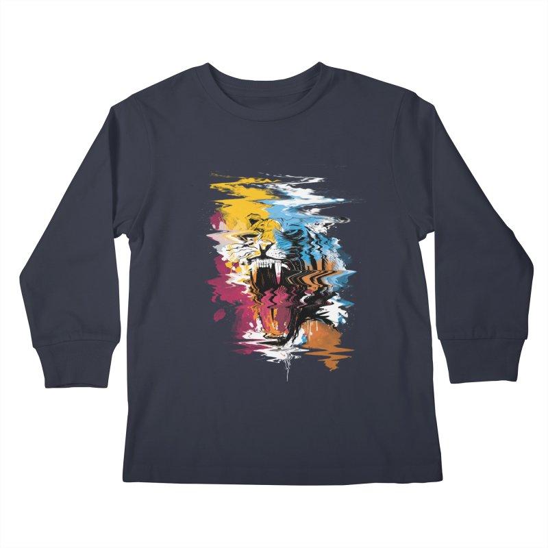 Raging Tiger Glitch Kids Longsleeve T-Shirt by mitchdosdos's Shop
