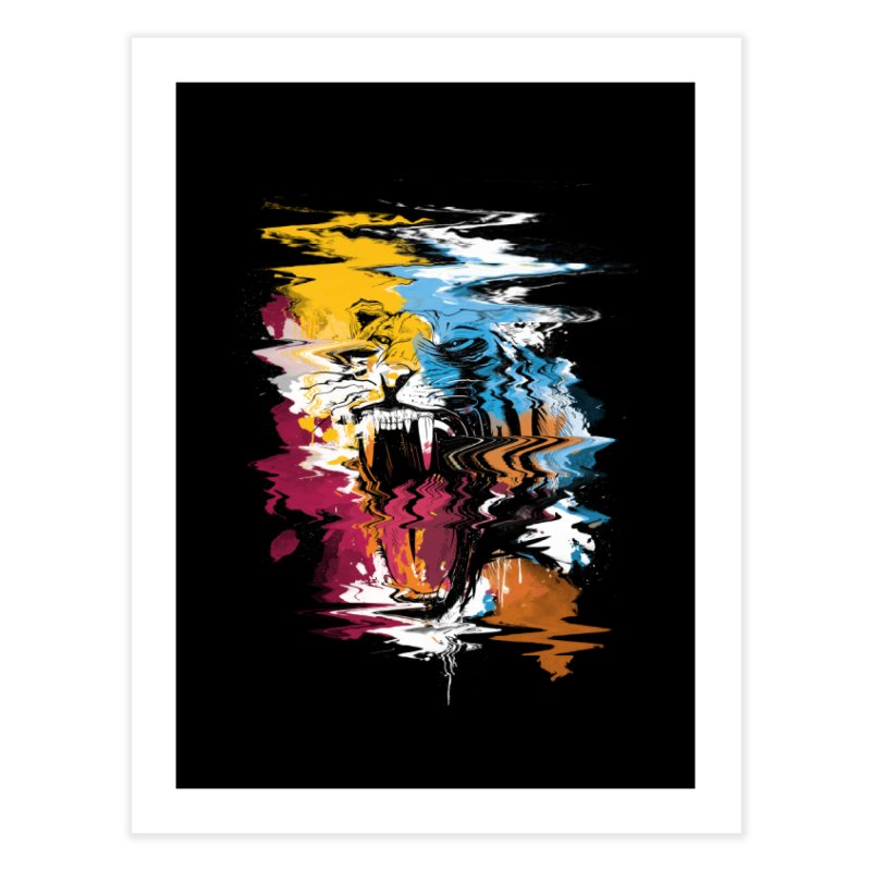 Raging Tiger Glitch Home Fine Art Print by mitchdosdos's Shop