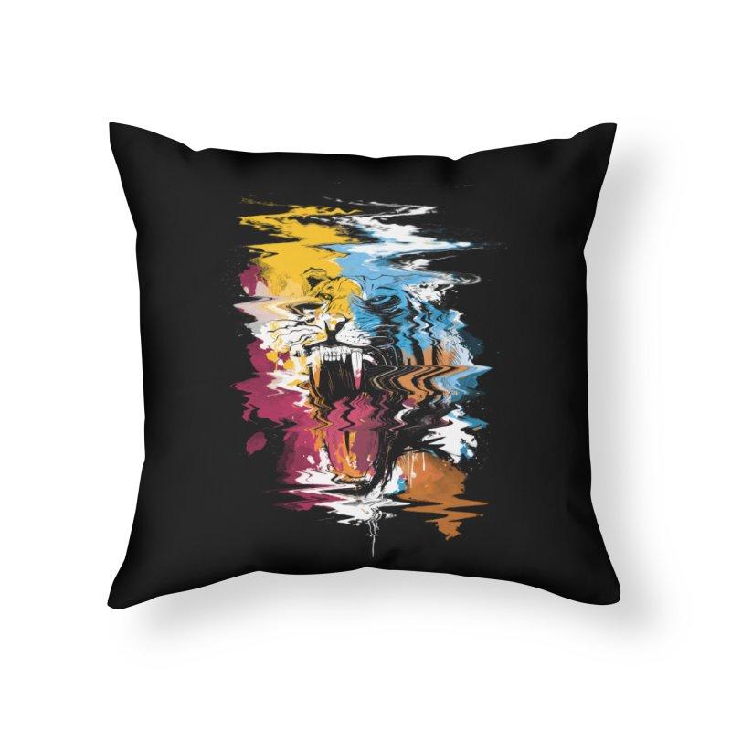Raging Tiger Glitch Home Throw Pillow by mitchdosdos's Shop