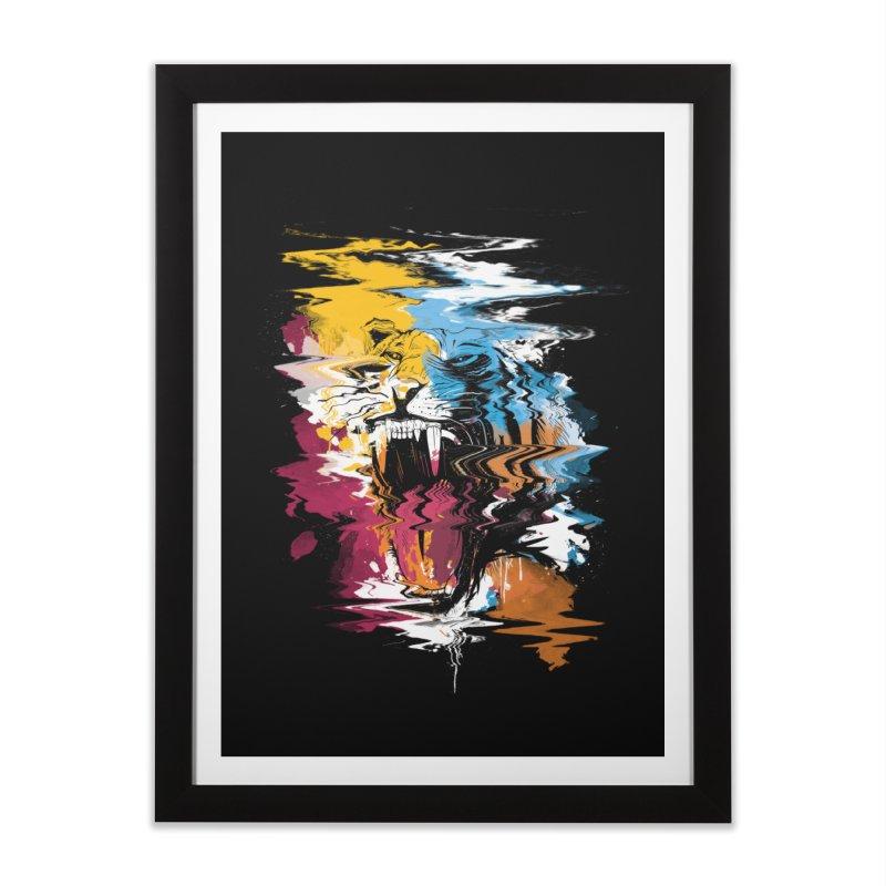 Raging Tiger Glitch Home Framed Fine Art Print by mitchdosdos's Shop