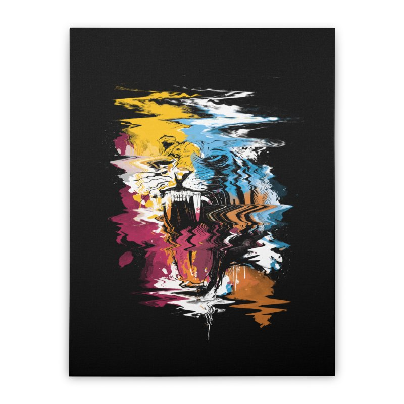 Raging Tiger Glitch Home Stretched Canvas by mitchdosdos's Shop