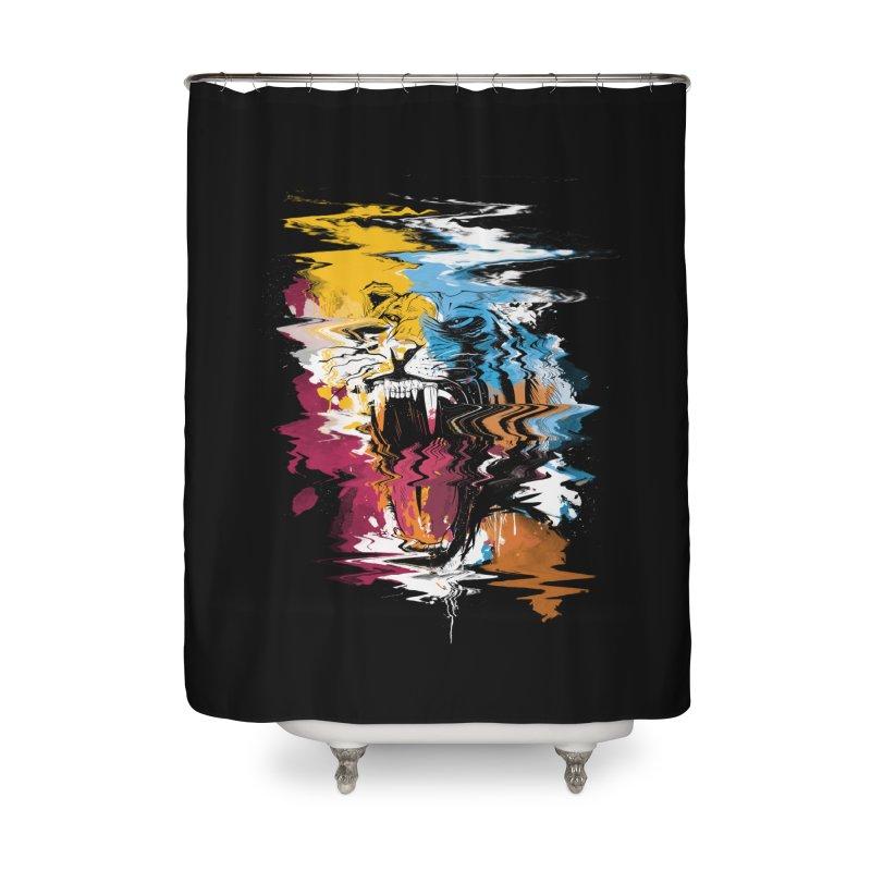 Raging Tiger Glitch Home Shower Curtain by mitchdosdos's Shop