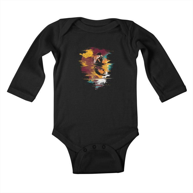 Raging Lion Glitch Kids Baby Longsleeve Bodysuit by mitchdosdos's Shop