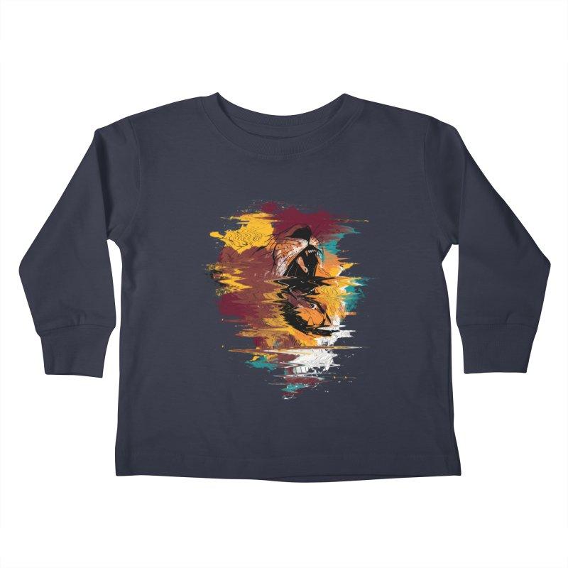 Raging Lion Glitch Kids Toddler Longsleeve T-Shirt by mitchdosdos's Shop