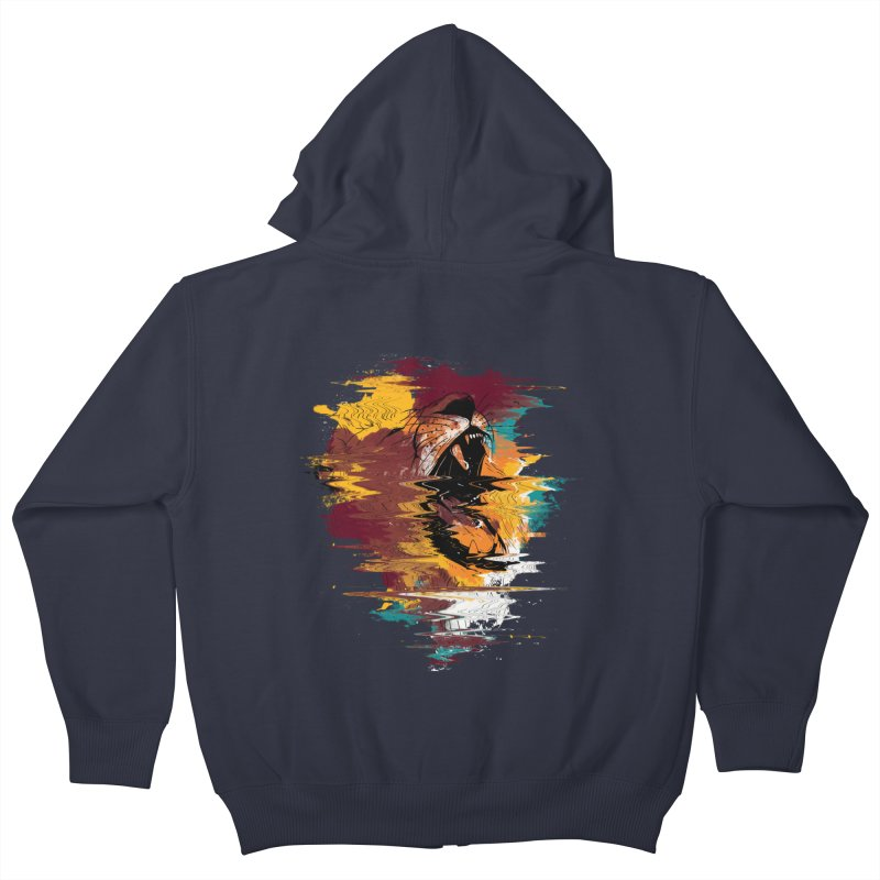 Raging Lion Glitch Kids Zip-Up Hoody by mitchdosdos's Shop