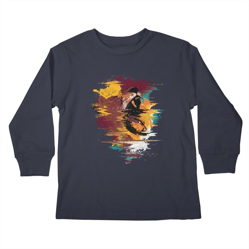 Raging Lion Glitch Kids Longsleeve T-Shirt by mitchdosdos's Shop