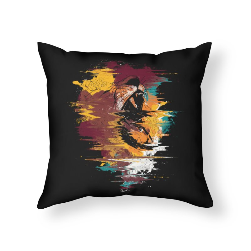 Raging Lion Glitch Home Throw Pillow by mitchdosdos's Shop