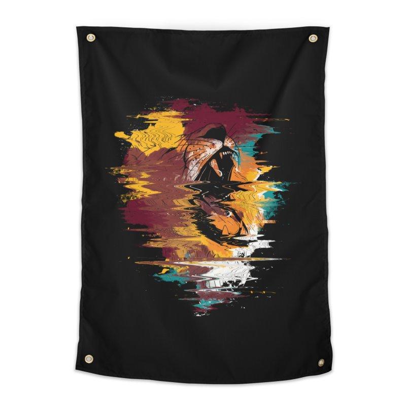 Raging Lion Glitch Home Tapestry by mitchdosdos's Shop