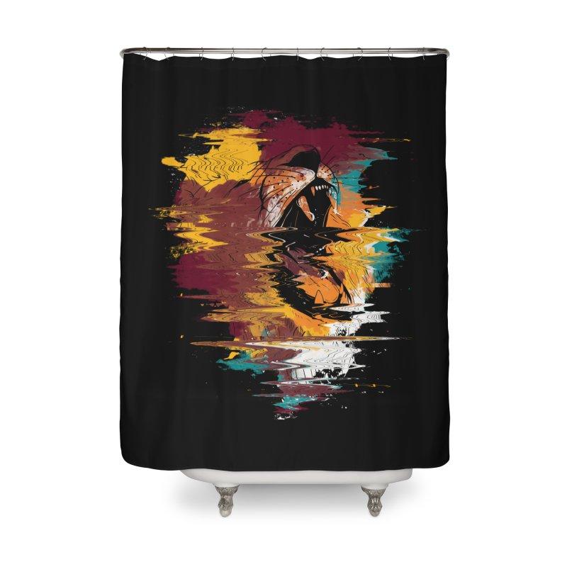 Raging Lion Glitch Home Shower Curtain by mitchdosdos's Shop