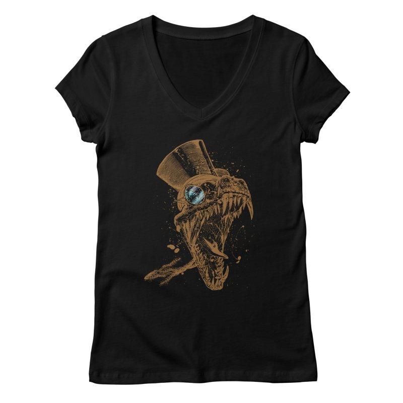 Dino Women's V-Neck by mitchdosdos's Shop
