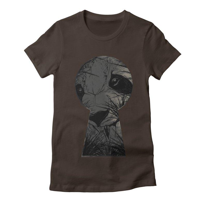 Peeping Panda Women's Fitted T-Shirt by mitchdosdos's Shop
