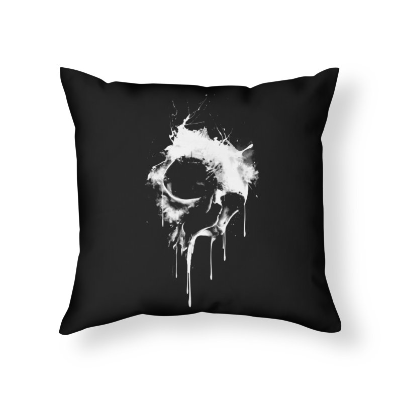 Melted Skull Home Throw Pillow by mitchdosdos's Shop