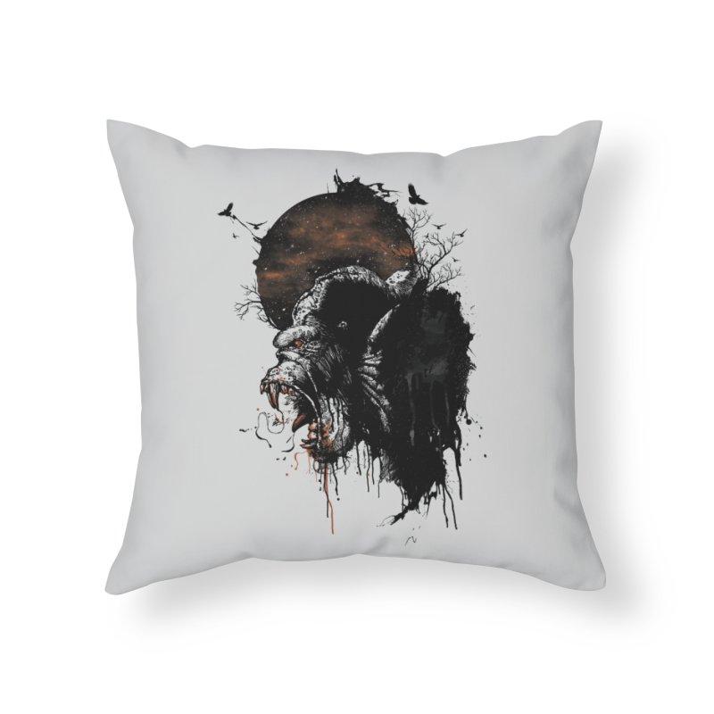 Raging Gorilla Home Throw Pillow by mitchdosdos's Shop