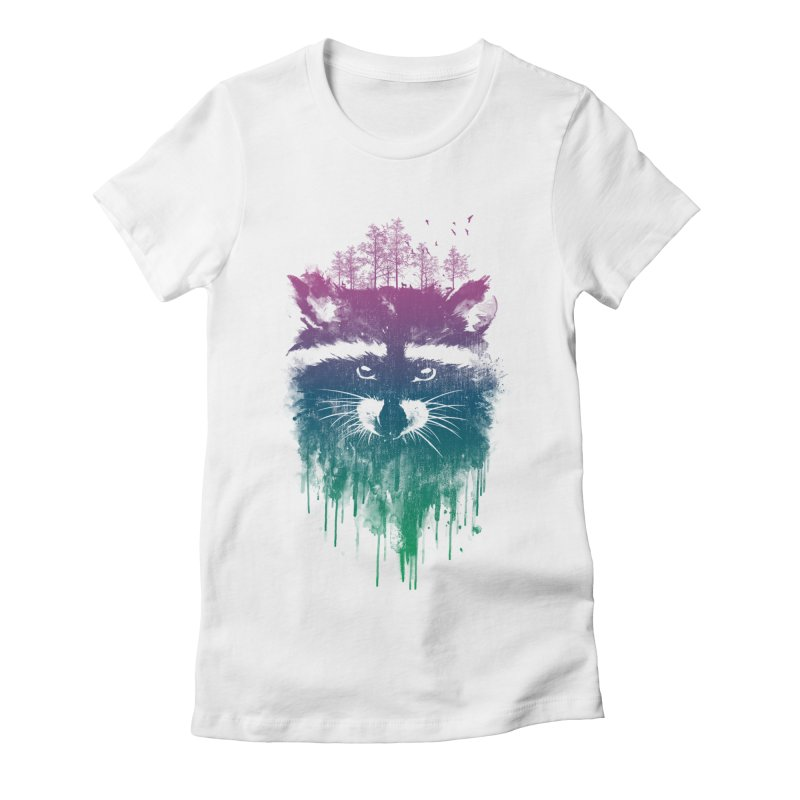 Raccoon Women's Fitted T-Shirt by mitchdosdos's Shop