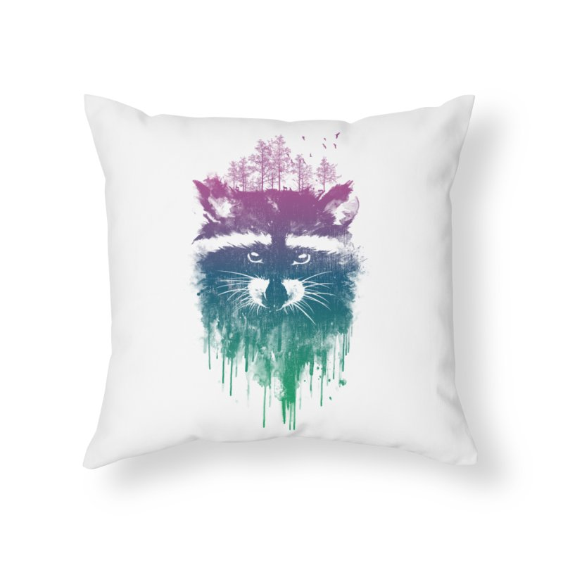 Raccoon Home Throw Pillow by mitchdosdos's Shop