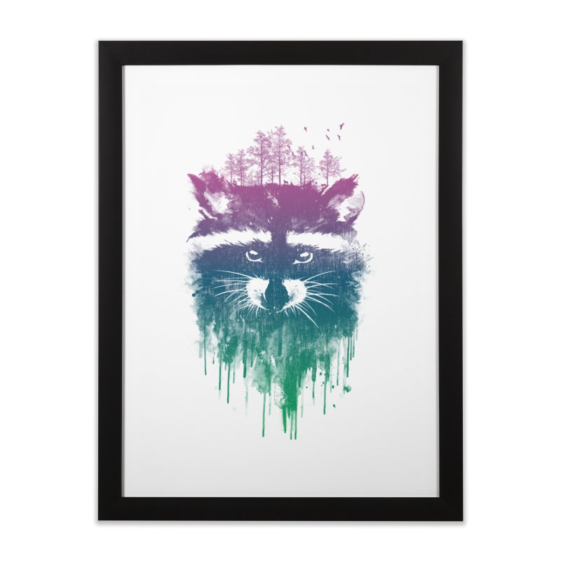Raccoon Home Framed Fine Art Print by mitchdosdos's Shop