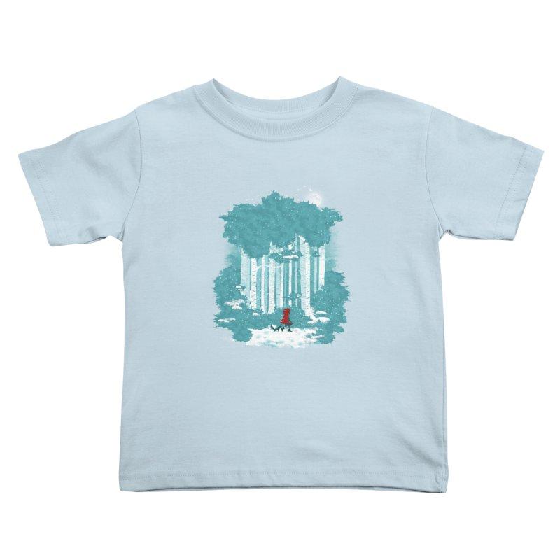 Winter Walk Kids Toddler T-Shirt by mitchdosdos's Shop