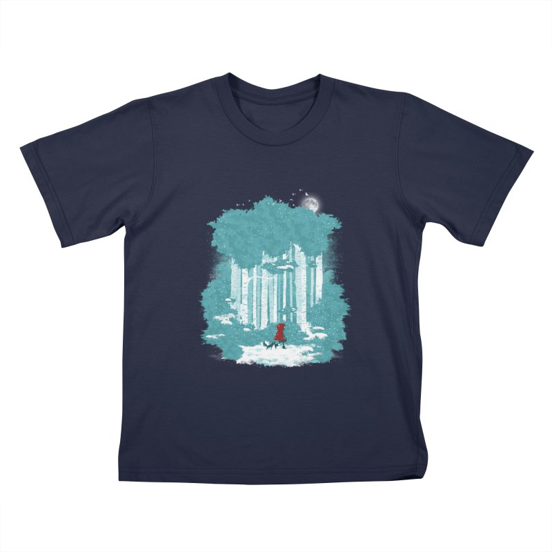 Winter Walk Kids T-Shirt by mitchdosdos's Shop
