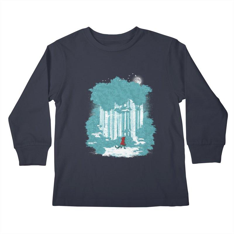 Winter Walk Kids Longsleeve T-Shirt by mitchdosdos's Shop