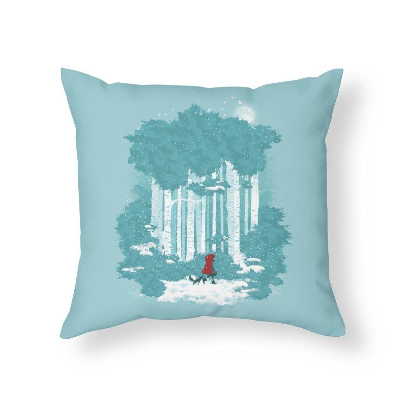 Winter Walk Home Throw Pillow by mitchdosdos's Shop