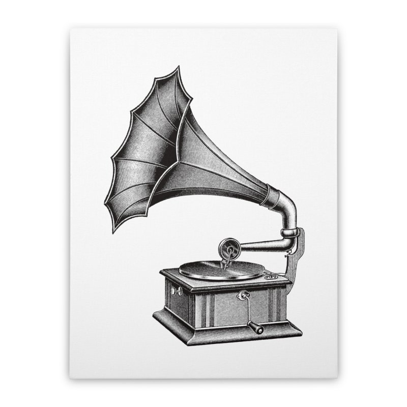 Phonograph Home Stretched Canvas by Mitchell Black's Artist Shop