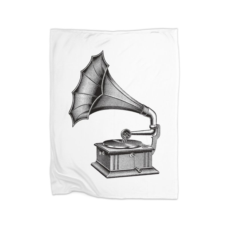 Phonograph Home Fleece Blanket Blanket by Mitchell Black's Artist Shop