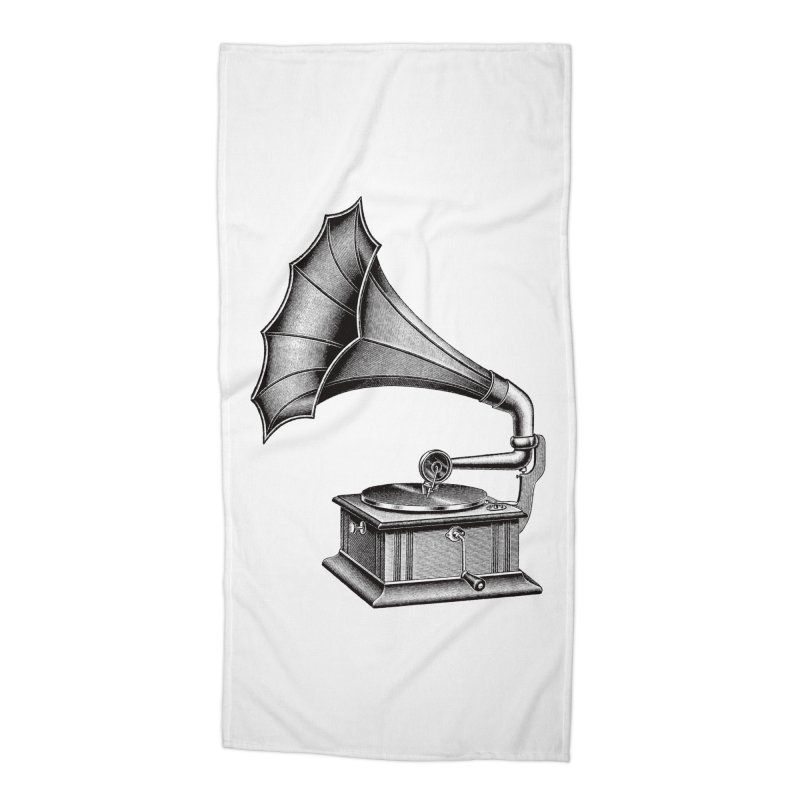 Phonograph Accessories Beach Towel by Mitchell Black's Artist Shop