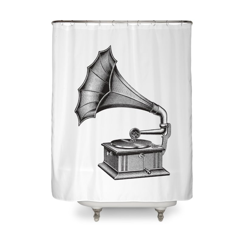 Phonograph Home Shower Curtain by Mitchell Black's Artist Shop