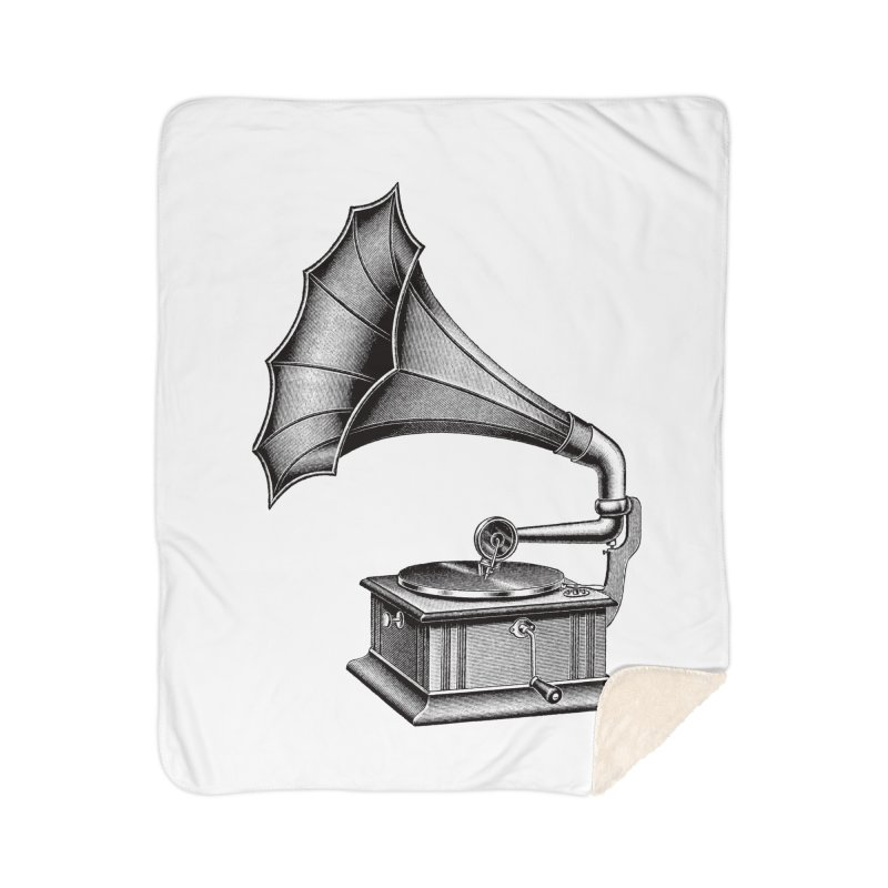 Phonograph Home Sherpa Blanket Blanket by Mitchell Black's Artist Shop