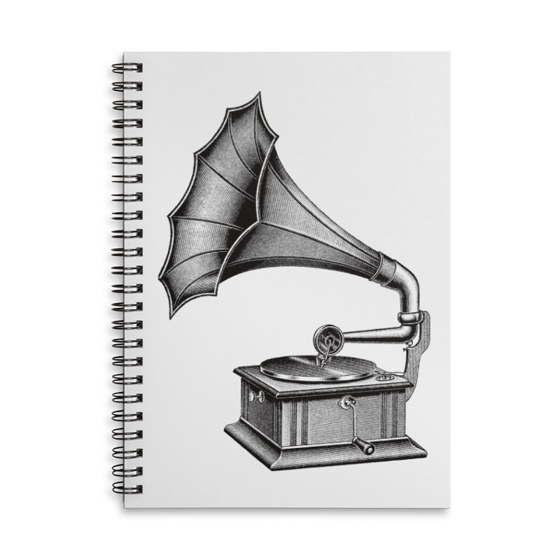 Phonograph Accessories Lined Spiral Notebook by Mitchell Black's Artist Shop