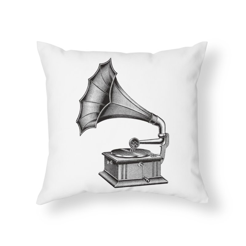 Phonograph Home Throw Pillow by Mitchell Black's Artist Shop