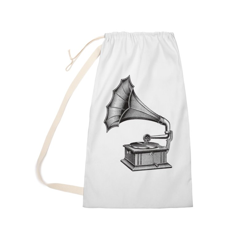 Phonograph Accessories Laundry Bag Bag by Mitchell Black's Artist Shop