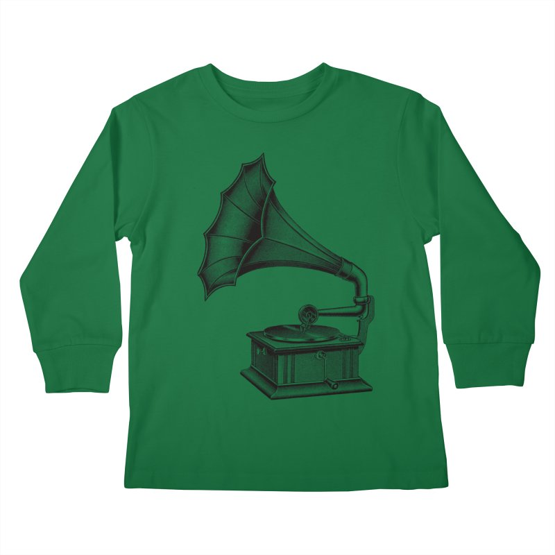 Phonograph Kids Longsleeve T-Shirt by Mitchell Black's Artist Shop