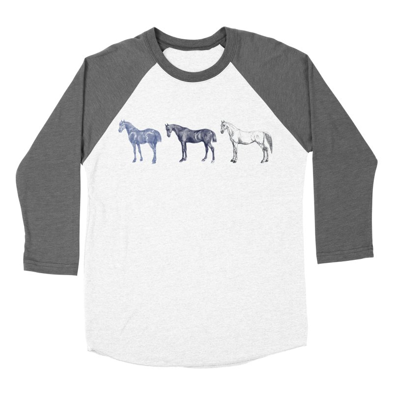 Hold Your Horses blue Women's Baseball Triblend Longsleeve T-Shirt by Mitchell Black's Artist Shop