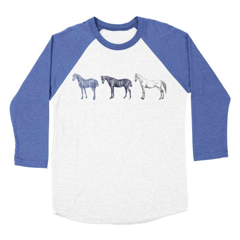 Hold Your Horses blue Men's Baseball Triblend Longsleeve T-Shirt by Mitchell Black's Artist Shop