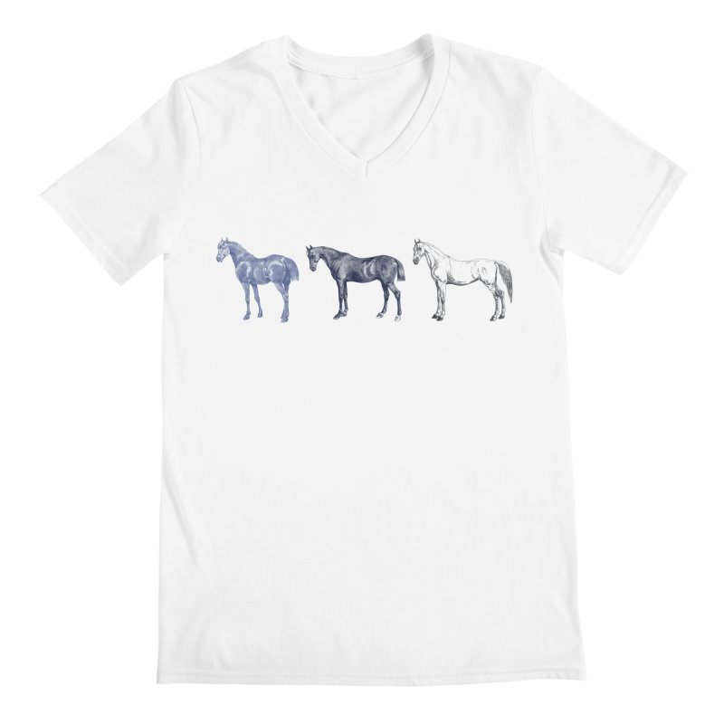 Hold Your Horses blue Men's Regular V-Neck by Mitchell Black's Artist Shop