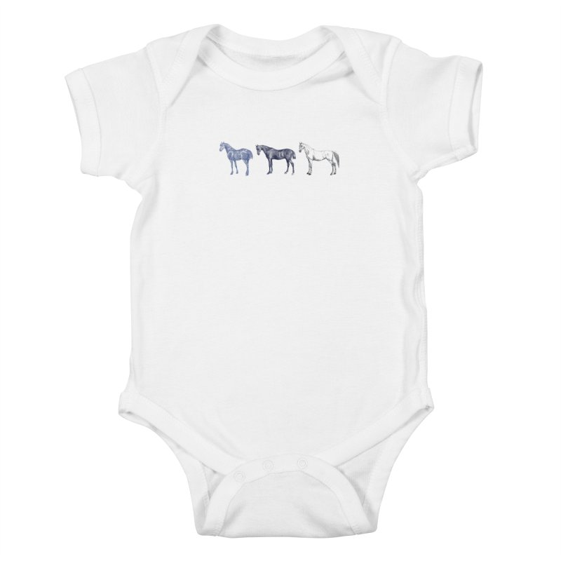 Hold Your Horses blue Kids Baby Bodysuit by Mitchell Black's Artist Shop