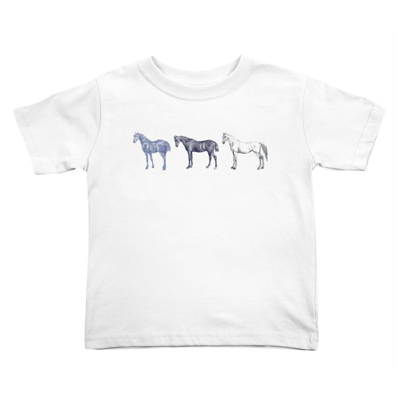 Hold Your Horses blue Kids Toddler T-Shirt by Mitchell Black's Artist Shop